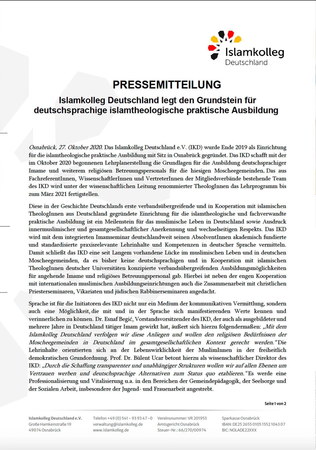 Pressemitteilung Islamkolleg Deutschland